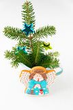 Homemade Angel cookie with Christmas decoration. royalty free stock photo