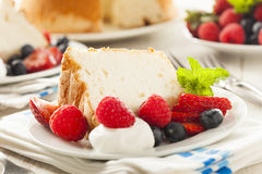 Homemade Angel Food Cake. With Fresh Berries Royalty Free Stock Images