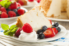 Homemade Angel Food Cake. With Fresh Berries Royalty Free Stock Photos