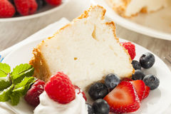Homemade Angel Food Cake. With Fresh Berries Royalty Free Stock Image