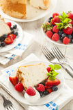 Homemade Angel Food Cake. With Fresh Berries Stock Images