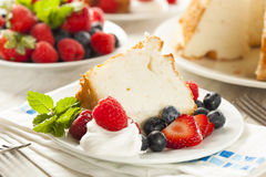 Homemade Angel Food Cake. With Fresh Berries Stock Photos