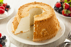 Homemade Angel Food Cake. With Fresh Berries Royalty Free Stock Photo