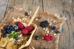 Homemade antioxidant smoothie summer fruits and cereals Stock Image