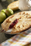Homemade apple and blackberry pie. Homemade blackberry and apple pie. Made with homegrown apples and wild blackberries. The words apple & blackberry are written royalty free stock image
