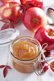 Homemade apple butter in glass jars Stock Photos