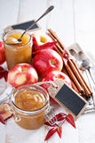 Homemade apple butter in glass jars Stock Image