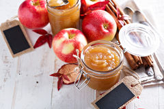 Homemade apple butter in glass jars Royalty Free Stock Photos