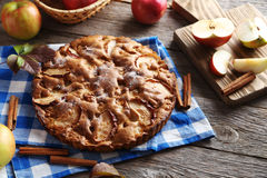 Homemade apple cake. On grey wooden table Stock Image