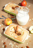 Homemade apple cake and a jug with milk royalty free stock image