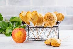 Homemade apple cake pops stock photos