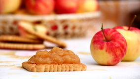 Homemade Apple Jam. Biscuits with homemade apple jam Royalty Free Stock Image