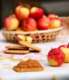 Homemade Apple Jam. Biscuits with homemade apple jam Stock Photo