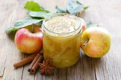 Homemade apple jam confiture with cinnamon Stock Photo