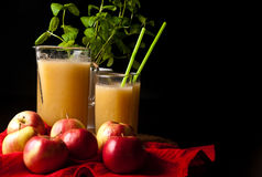 Homemade apple and lemon juice royalty free stock photo