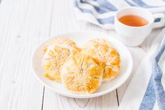 Homemade apple pie in asian style. On wood background Stock Photos