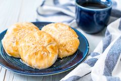 Homemade apple pie in asian style. On wood background Royalty Free Stock Images