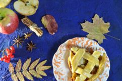 Homemade Apple pie with cinnamon, cardamom and star anise. Traditional autumn cakes for tea. Selective focus stock images