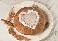 Homemade Apple pie with cinnamon. Decoration heart Stock Photography