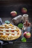 Homemade apple pie with cinnamon and fresh fruits Royalty Free Stock Photography