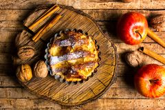 Homemade apple pie with cinnamon stock image
