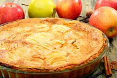 Homemade apple pie closeup. Stock Photography