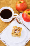 Homemade apple pie and coffee on table Royalty Free Stock Photography