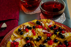 Homemade Apple pie. With currant and tea Hibiscus Royalty Free Stock Photography