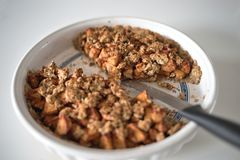 Homemade Apple Pie Dessert. Organic gluten free raw pudding from oats and fruits Stock Image