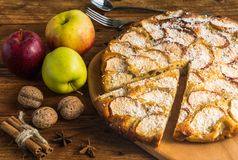 Homemade apple pie. With apples,walnuts,cinnamon and cocoa chips Royalty Free Stock Photo