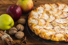 Homemade apple pie. With apples,walnuts,cinnamon and cocoa chips Stock Photos