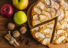 Homemade apple pie. With apples,walnuts,cinnamon and cocoa chips Stock Photo