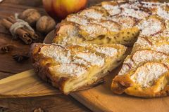 Homemade apple pie. With apples,walnuts,cinnamon and cocoa chips Royalty Free Stock Image