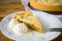 Homemade apple pie with ice cream Royalty Free Stock Image