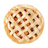 Homemade apple pie isolated on white. Homemade apple pie with lattice pastry isolated on a white background, above view Stock Images