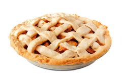 Homemade apple pie isolated on white. Homemade apple pie with lattice pastry isolated on a white background, side view Stock Images