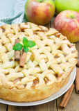 Homemade apple pie with lattice pattern Royalty Free Stock Images