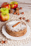 Homemade apple pie, top view. Homemade apple pie on table, close up, vertical Stock Photography