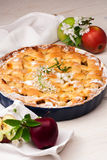 Homemade apple pie on a white wooden background. Homemade delicious fresh apple pie with aromatic spices, spring flowers and fresh apples on a white wooden stock photos