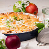 Homemade apple pie on a white wooden background. Homemade delicious fresh apple pie with aromatic spices, spring flowers and fresh apples on a white wooden stock photography