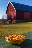 Homemade Apple Pie on a wooden picnic table Stock Image