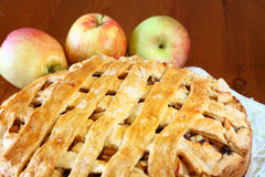 Homemade apple pie on wooden table Stock Photo