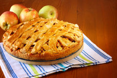 Homemade apple pie on wooden table Stock Photography