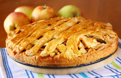 Homemade apple pie on wooden table Royalty Free Stock Image