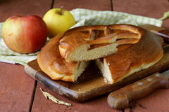 Homemade apple pie on a wooden table Stock Photo