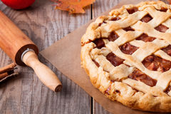Homemade apple pie. On the wooden table Royalty Free Stock Photos