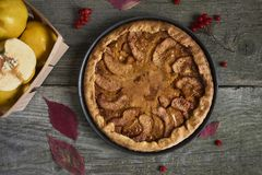 Homemade apple quince pie with fresh fruits on rustic wooden bac Stock Images