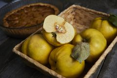 Homemade apple quince pie with fresh fruits on rustic wooden bac Royalty Free Stock Images