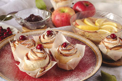 Homemade Apple Rose Cake Stock Photos
