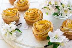 Homemade apple rose cakes Royalty Free Stock Images